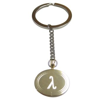 Gold Toned Etched Oval Greek Letter Lambda Pendant Keychain