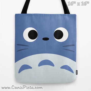 Totoro Kawaii My Neighbor 13x13 Graphic Pop Art Print Tote Bag Anime Grey Manga Troll Hayao Miyazaki Studio Ghibli 16x16 18x18 Gift Her Him
