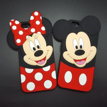 Cartoons Mickey minnie mouse bow-knot soft Silicone Phone case for iPhone 5 5s SE 6 6s 9 plus 4.7 5.5 Fundas Rubber cover Cases