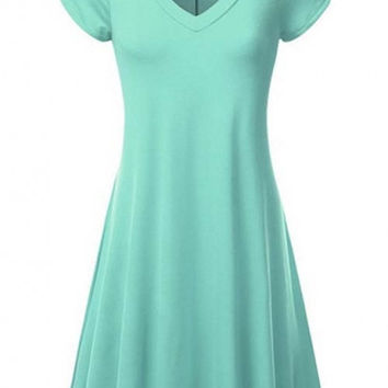 A-Line Plain V-Neck Short Sleeve Chic Dress