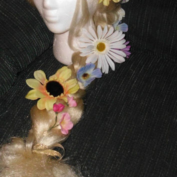 Rapunzel Wig, Fairy Wig Tangled Disney Princess Elf Nymph Flower Long Blonde Costume , Flowers