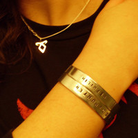 The Mortal Instruments Nephilim Inspired Hand Stamped SHADOWHUNTER Aluminum Cuff Bracelet Geekery