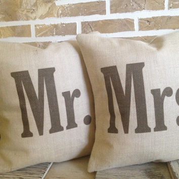 Mr. and Mrs. Burlap Rustic Wedding Pillows - Bridal Shower - Inserts Included