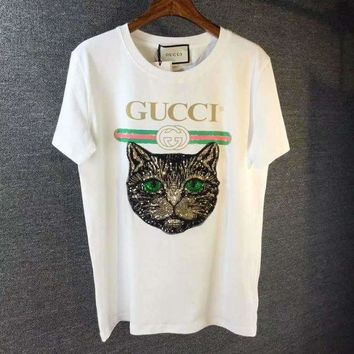f5ffee9819d GUCCI Fashion Mystic Cat Tunic Shirt Top Blouse