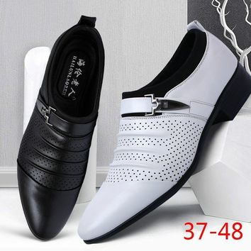 Top Brand New Design British Men's Breathable Leather Shoes Fashion Man Pointed Toe Formal Wedding Shoes Male Flats Dress Shoes