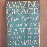 wooden sign wall decor amazing grace subway art by CiderHouseMill