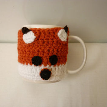 Cozy cup Sweater Fox Cozy cup Cozy Mug Sweater Handmade Crocheted Coffee Tea Mug Cup Cozy Crochet Cozy cup