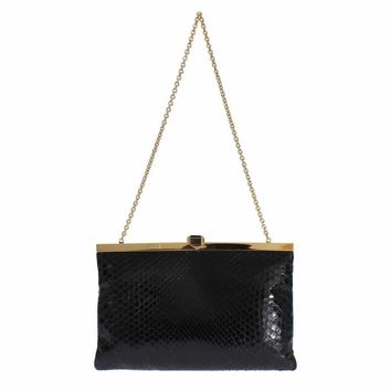 Dolce & Gabbana Black Snakeskin Shoulder Crystal Clutch Purse