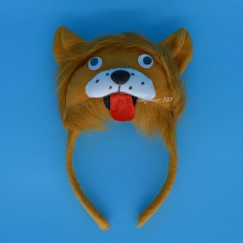 2017 NEW Man Kids Boy Girl 3D King Lion Headband Animal Cosplay Costume Party Halloween Christmas