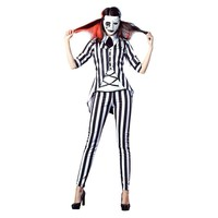 Vocole Adult Women Halloween Horror Graveyard Ghost Costume Beetlejuice Role Cosplay Fancy Dress