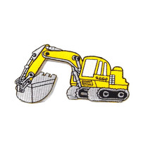 Yellow Backhoe Iron on Patch