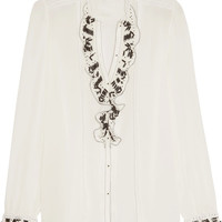 Paul & Joe - Ruffled lace-trimmed embellished silk crepe de chine blouse