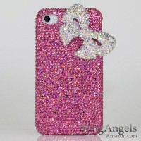 Amazon.com: 3D Swarovski Luxury AB Crystals Bling Pink Case Cover for iphone 4 / 4s 100% Handcrafted by BlingAngels: Cell Phones & Accessories