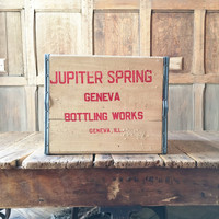Vintage Wood Crate, Jupiter Springs Bottling Works, Geneva Illinois Wood Soda Crate, Vinyl Record Storage