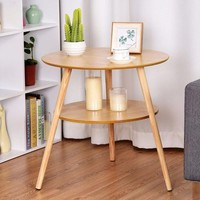 Round End Coffee Table 2-Tier Side Accent
