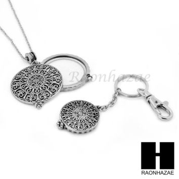 Silver 5X Magnifying Glass Round Filigree Key Chain Pendant Chain Necklace Set SJ3S