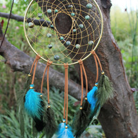African Turquoise Dream Catcher,  6 inch Brass Ring, Leather, Sinew, and Colored Rooster Feathers