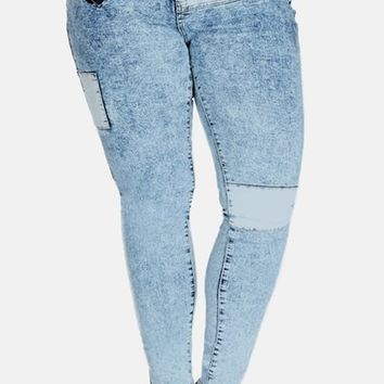 Plus Size Women's City Chic 'DIY' Skinny Jeans (Mid Denim)