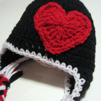 Valentine's Day Hat.  Ready to ship.  0 to 3 months.  Crochet earflap hat with heart.  Photo prop.  Baby shower gift.