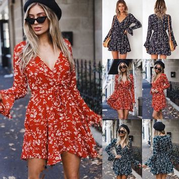 Summer Women Short Mini Dress Fashion V Neck Vintage Boho Lace up Long Flare Sleeve Floral Print Ladies Dresses