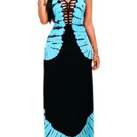 Casual Sky Blue Bleach Cut Out Draped Backless Boutique Holiday Maxi Dress
