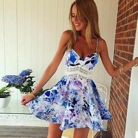 Hot Sexy Womens Summer Straps Sleeveless Floral Printed Short Casual Beach Dress