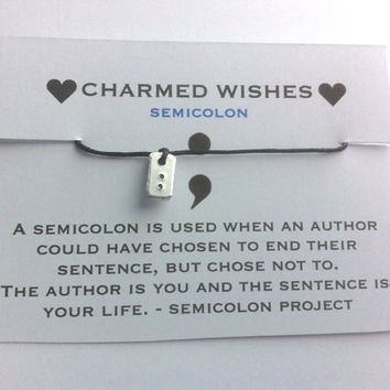 SemiColon Project | MIND | Semi colon bracelet | Mental Health Awareness | Semicolon wish bracelet | Mental health awareness bracelet