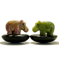 Animal Set 14 Hippo Pair Pink Rhodonite Green Serpentine