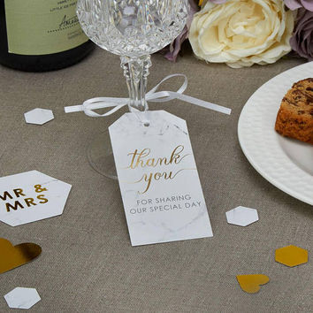 Scripted Marble - Luggage Tags Large Thank you for sharing our special day DIY wedding