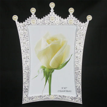 New Fashion Crystal Pearl Crown Home Decor Photo Frame Alloy Metal 5'' *7'' X1357