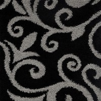 8560 Black Gray Damask Shag Area Rugs