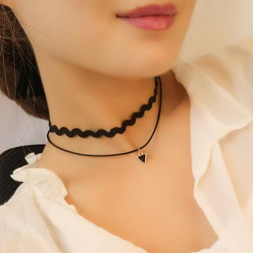 N1047 Choker Necklaces Double Layer Triangle Collares For Women Black Rope Necklace Fashion Jewelry Clavicel Chic Bijoux