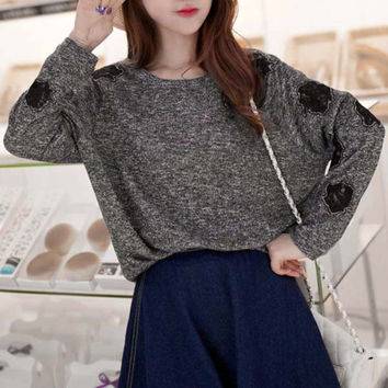 Gray Long Sleeve Floral Pattern Sweater