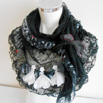Black Shawl, Black Triangle Shawl, Black Ruffled Shawl, Black and White Shawl, Black Wedding Shawl, Black Funeral Shawl, Black Scarf