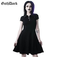 Goth Dark Grunge Aesthetic Vintage Pleated Evenging Party Dresses Gothic Elegant Solid Zipper Dress Patchwork Ruffle Vestidos