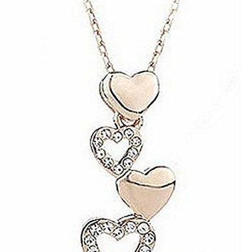 Basket Hill,  18k Gold Plated and  Row of CZ Heart Womens Necklace