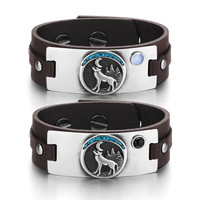 Wild Spirit Moon Howling Wolf Love Couples Blue Simulated Cats Eye Simulated Onyx Brown Leather Bracelets