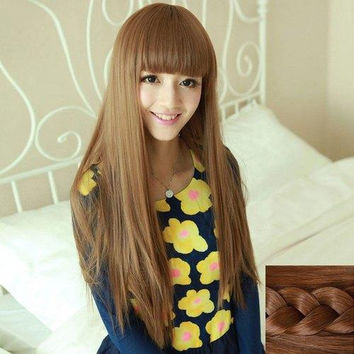 Fashion Silky Straight Full Bang Heat Resistant Fiber Noble Long Capless Wig For Women