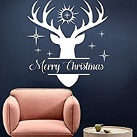 Merry Christmas Wall Decal Deer Wall Decals Deer Head Art Stars Decal Vinyl Decal Deer Art Antler Decal Nursery Bedroom S133