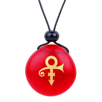 Amulet Frosted Sea Glass Stone Ancient Rebirth Symbol Good Luck Powers Royal Red Adjustable Necklace