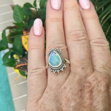 Boho Rainbow Moonstone sterling silver ring size 8
