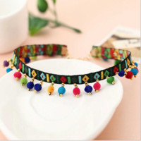 New items decorated fashion embroidery collar, Bohemian national wind color hair ball collar