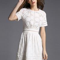 White Floral Eyelet Pattern Short Sleeve Mini Dress