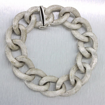 "Vintage Estate 14k 585 Solid White Gold Large Link 6.5"" Chain Bracelet 44g"