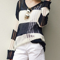 Navy White V Neck Cutout Long Sleeve Knit Sweater