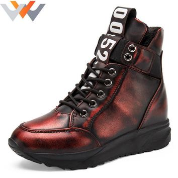 Women Ankle Boots Stealth Increase Height 7cm Shoes Lace Up Ladies Rubber Sole Casual