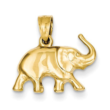 14k Yellow Gold Solid Elephant Pendant