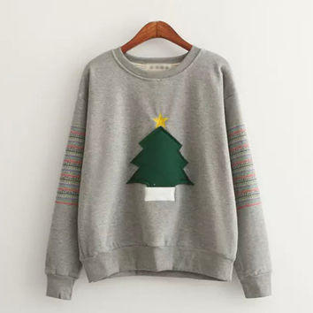 Gray Christmas Tree Sleeve Stripe Sweatshirt