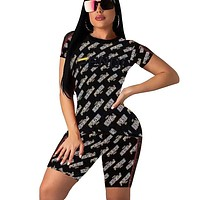 Fendi Fashion New More Letter Print Sports Leisure Top And Short Two Piece Suit Black