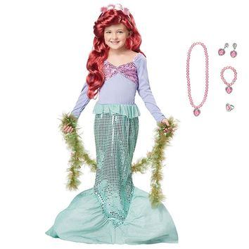 Little Girls Mermaid Dress Children Princess Ariel Cosplay Costume Kids Carnival Halloween Birthday Party Fancy Sequined Dress
